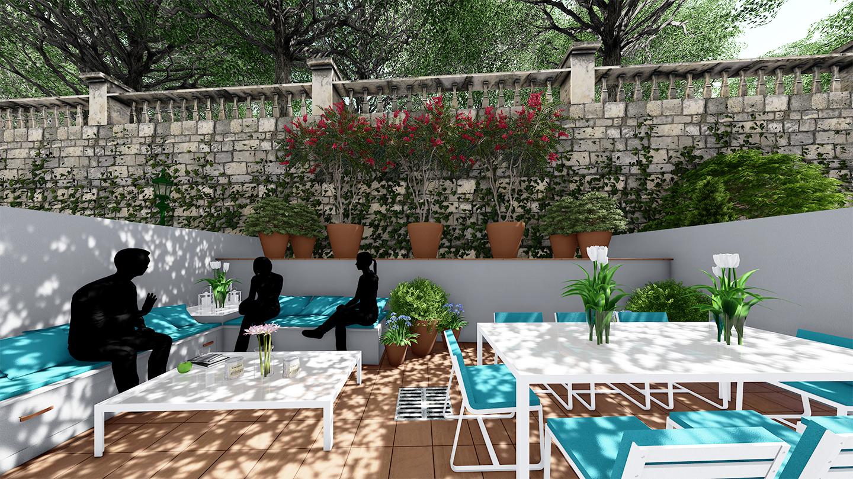 patio interior, decoración